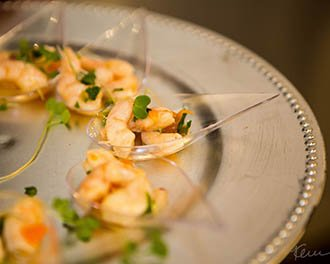 Fresh Shrimp on Tasting Spoons - ala karte events & catering