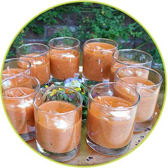roasted red pepper soup shooters - a la karte events and catering