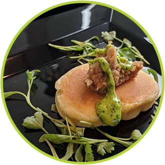 Pulled Pork Griddled Jalapeno Corn Cake and Green Onion Coulis SM copy